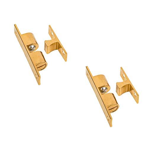 Gedotec Doppel-Kugelschnäpper Messing Möbel-Schnapper Schrank-Türen & Möbel - PROFI IDEAL | 13 x 70 mm | Schnapp-Riegel mit verstellbaren Chrom-Stahlkugeln | 2 Stück - Tür-Verschluss zum Schrauben