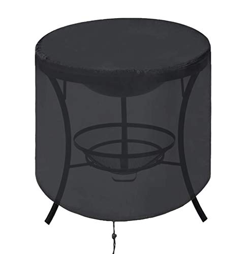 DDLL Round Fire Pit Cover, 26 Sizes Outdoor Fire Pit Covers with Drawstring, 210D Rip Proof Oxford Cloth, Waterproof, Windproof, Anti-uv, for Garden Stove Firepits Table,D92 x H30cm