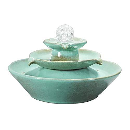 YHDP Zen Cerámica Fuente Interior,Eléctrico En Cascada Méditation Cascada,Artesanal Feng Shui Suerte...