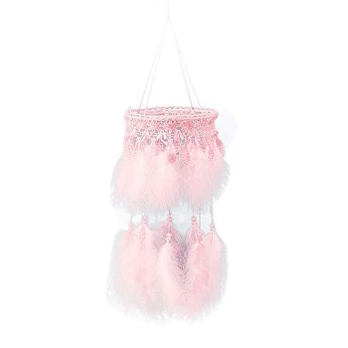Versier LKU LED wolk veer dromenvanger meisje babykamer decoratie wanddecoratie Nordic windgong, A