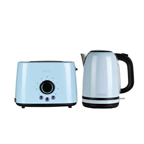 Packung DOMO Wasserkocher blau 1,7L 2200W - Toaster blau 1000W