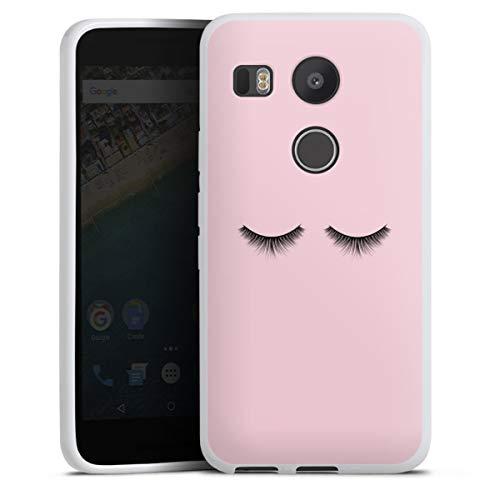 Silikon Hülle kompatibel mit Google Nexus 5X Hülle weiß Handyhülle Auge Design Mädchen