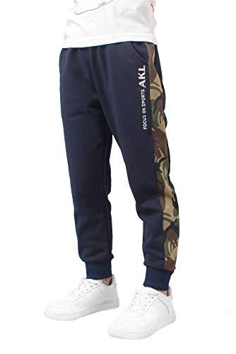 Jogging Enfant Garcon, Pantalon Survêtement en Coton,Pantalon de Sport Enfant Taille Elastique,Camouflage Jogger Survêtement Bas(Bleu foncé, 11-12 Ans)