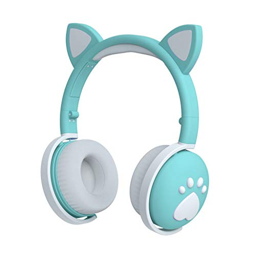 Auriculares para Colocar sobre La Oreja, Bluetooth 5.0, Estéreo De Alta Fidelidad, Auriculares Estéreo Inalámbricos Plegables, Auriculares con Micrófono Incorporado (Color : Green)
