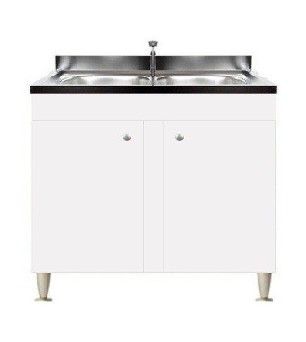 Mobile cucina 2 ante con lavello inox 90, 2 vasche componibile sottolavello