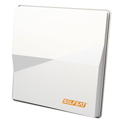Selfsat H50 M Single Sat Flachantenne Astra/Hotbird für Einen Teilnehmer | HDTV- und 4K(UHD)-tauglich, weiß, Zwei Satelliten