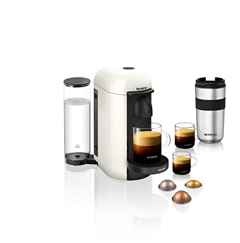 Nespresso VERTUO Plus XN9031 Cafetera de cápsulas, máquina de café expreso de Krups, café diferentes tamaños, 5 tamaños tazas, tecnología Centrifusion, calentamiento 40 segundos, Blanca