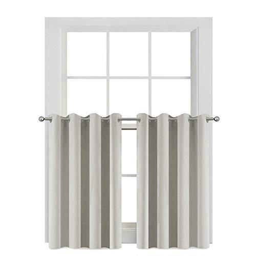 Blackout Kitchen Drapes for Besement - Energy Smart Blackout Grommet Window Treatment Curtain Panels for Cafe Store(52Wx36L,Light Beige,2 Panels)