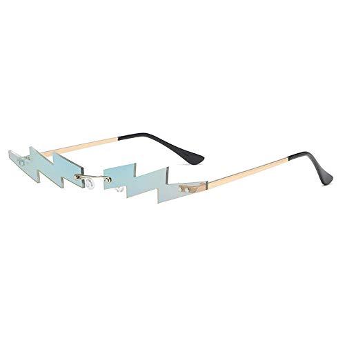 Powzz ornament Gafas de sol sin montura para mujer, lentes de espejo únicas de lujo, gafas de sol punk para hombres, gafas curvas retro, gafas pequeñas sin marco-3mirror_green_Universal