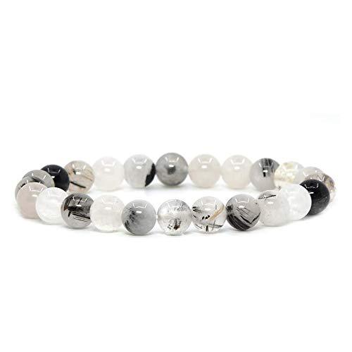 17K Ädelsten halvädelsten 8 mm runda pärlor stretcharmband 18 cm unisex e ingen metalltyp, colore: Svart rutinerad kvarts
