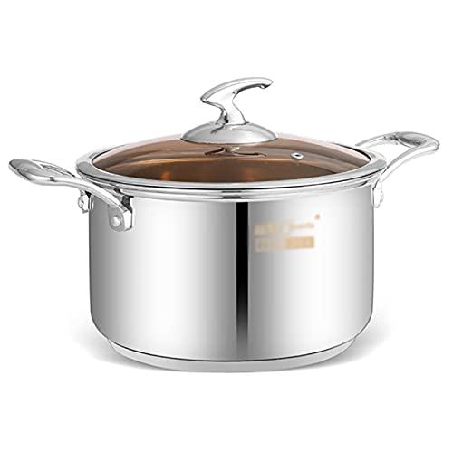 Utensilios de cocina al vapor Pottiquí, olla de sopa de acero inoxidable 304 (20/22 cm), para 3-6 personas, para cocina de gas/cocina de inducción Charola para hornear (Size : 22CM)