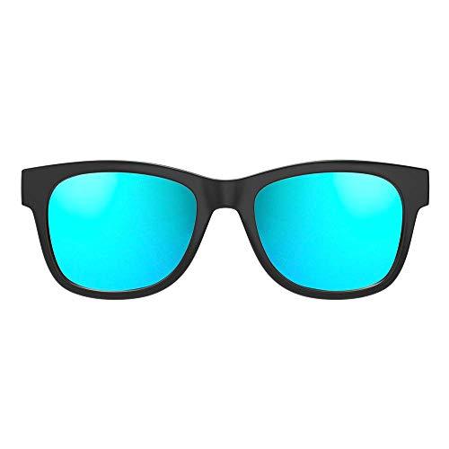 Gafas de Conducción Ósea con Auriculares Inalámbricas Bluetooth con Audífonos Estéreo Música Manos Libres Gafas de Sol a Prueba de Agua con Micrófono con Cancelación de Ruido (Negro Brillante, Azul)