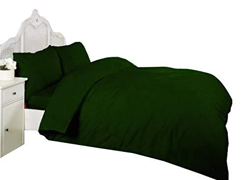 Beautiful DARK GREEN Duvet Set Polycotton Plain Dye Choose Single Double King Super King or Pillow Pair (SINGLE)