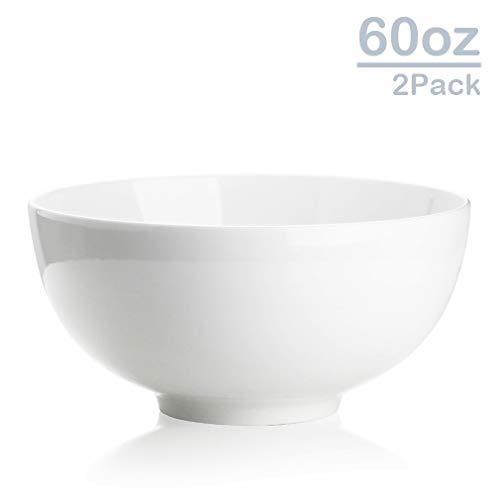 Zoneyila 60 Oz Porcelain Serving Bowls, 2-Pack Large Soup Salad Cereal Pasta Round Bowl Sets,Wide and Anti-slipping,White