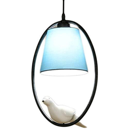 FFLJT American Restaurant lampara de la lampara nordica Bird Bar Arana Tela Comedor simple lampara de la lampara del Mediterraneo