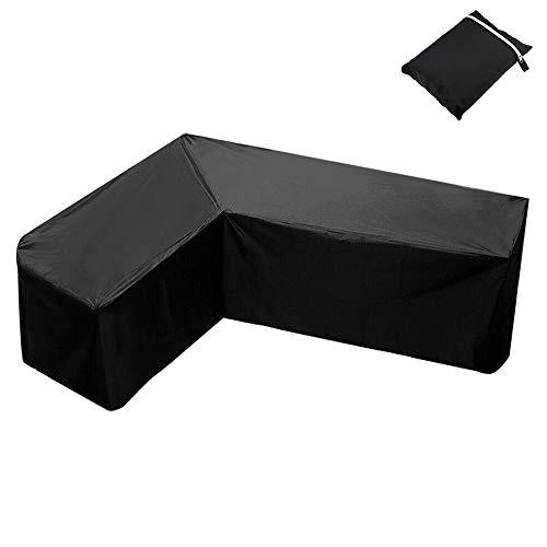 L-Form Abdeckung für Gartenmöbel, L-förmige Gartenmöbelbezüge, Patio wasserdichte, staubdichte UV-Schutz-Ecksofabezug mit Aufbewahrungstasche für Patio-Sofa-Couch im Freien(270x270x90cm)