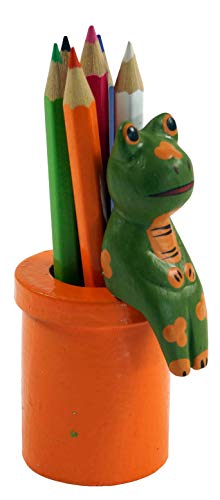 Guru-Shop Gekleurde Potloden met Houder, Oranje, Kleur: Oranje, 9x4x4 cm, Decoratie Voor de Kinderkamer