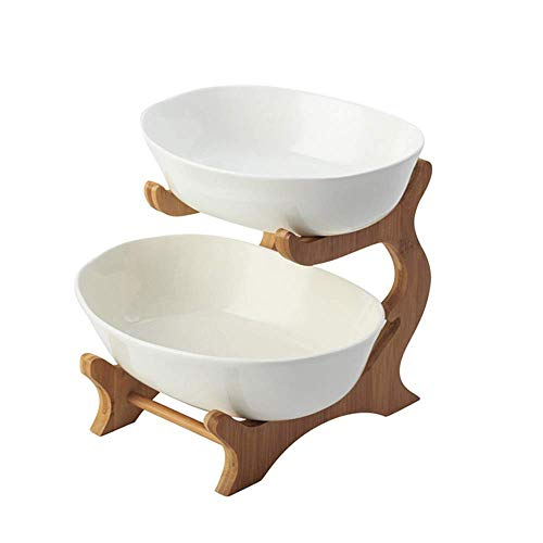 Home Snack Dip Bowls Serviesgoed Keramische dubbele fruitschaal, Creative Bamboo Double Fruit Basket, Clay Fruit Bowl, Living Room Fruit Decoration Bowl keuken restaurant geschenken (kleur: aarde porselein)