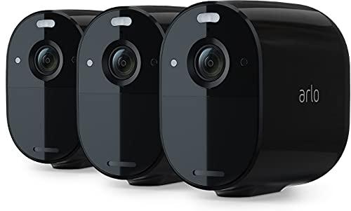 Arlo Essential Spotlight, 3 cámaras vigilancia WiFi 1080p, detector de movimiento, visión nocturna en color, audio bidireccional, 180 días de batería, no necesita SmartHub, funciona con Alexa, Negro