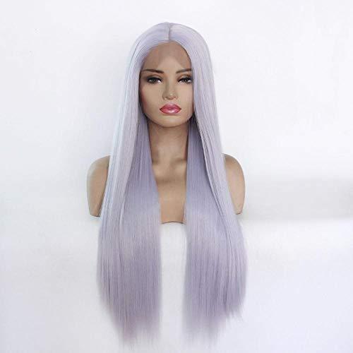 Vrouwelijke blauwgrijs lang steil haar, front lace pruik, 24inch, cosplay pruik, pruik voor party, party en rollenspel