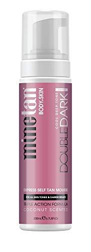 MineTan Double Dark Selbstbräunermousse - Dunkle Selbstbräuner für alle Hauttypen geeignet - Veganes Selbstbräunungs-Mousse, 200ml