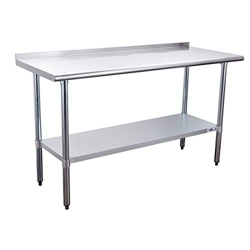 Profeeshaw Stainless Steel Prep Table NSF Commercial Work Table with Backsplash and Undershelf for Kitchen Restaurant 24×60 Inch