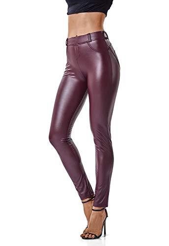 FITTOO Mujeres PU Leggins Cuero Brillante Pantalón Elásticos Pantalo