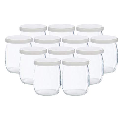 La ColletterieTM – Lot de 12 Pots de Yaourt en Verre avec Couvercles Étanches – Fabriqués en France – pour Yaourtières et Multicuiseurs (SEB, Thermomix, etc) – 143 ML / 125 grammes