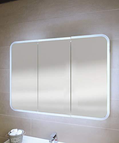 Specchiera specchio bagno pensile contenitore 3 ante, fascia led, cm.70x95x13