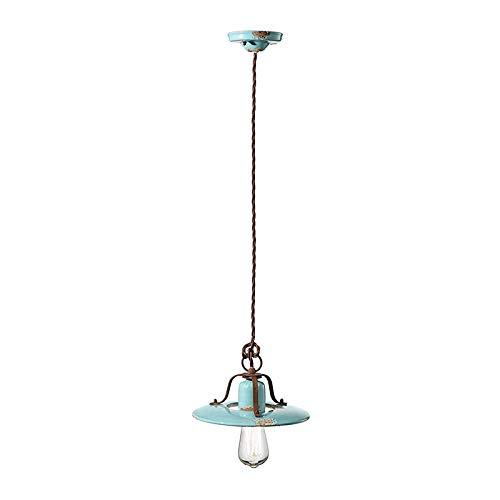 Lámpara colgante D.25 C1441 Country 1 luz acabado vintage azul Ferroluce