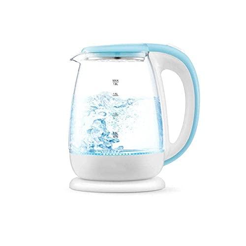 XBR Tetera de Agua inalámbrica, hervidor eléctrico de Vidrio, 1.8 litros, LED Azul, Iluminado, portátil, para Oficina, Apagado automático, Acero Inoxidable, hervidor rápido, Jarra para té, Tetera
