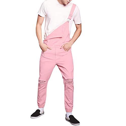 SUCES Peto vaquero para hombre, corte ajustado, pantalón vaquero básico, pantalón largo para chicos rosas,...