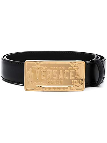 Versace Luxury Fashion Herren DCU8008DVTP1D41OH Schwarz Leder Gürtel | Frühling Sommer 20