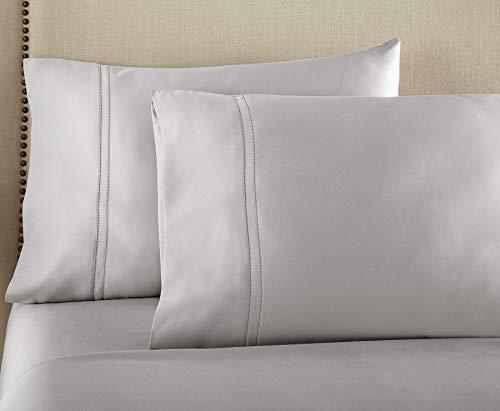 Pure Parima Egyptian Cotton Pillowcase Set   Extra-Long Staple   Double Hem-Stitched   Side Envelope Enclosure   2 Pillowcases   All Natural (Grey, King)