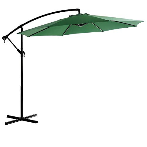 HOMEFUN 10ft Patio Aluminum Umbrella, Offset Hanging Outdoor Market Cantilever Umbrella with Cross Base and Cover, Green
