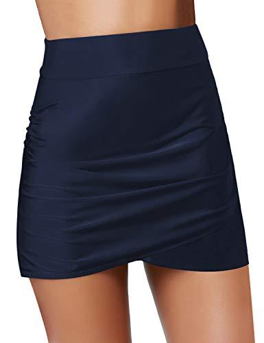 GRAPENT Women's Dark Blue Tulip Hem High Waist Ruching Swim Skirt Bikini Swimsuit Bottom with Briefs Size S