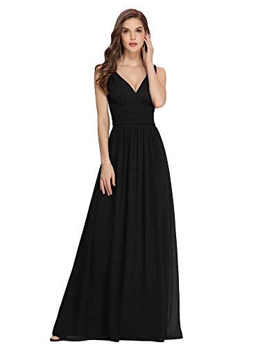Ever-Pretty Womens Elegant Double V Neck Maxi Fomral Party Dress 4 US Black (Apparel)