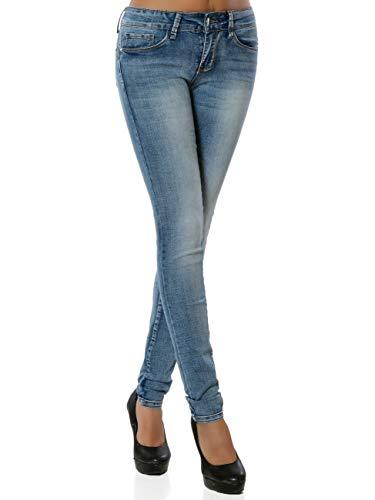 Daleus Damen High-Waist Jeanshose Push-Up DA 15964 Farbe Blau Größe M (Herstellergröße 38)