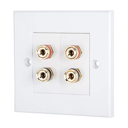 Computer Spares Speaker Faceplate/Wall Outlet - Red & Black, Gold Plated Binding Post Connectors - Accepts Banana Plugs & Speaker Cable (2 x Speaker Faceplate (4 Terminals))