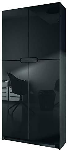 Vladon Büroschrank Aktenschrank Büromöbel Logan, Korpus in Schwarz matt/Fronten in Schwarz Hochglanz