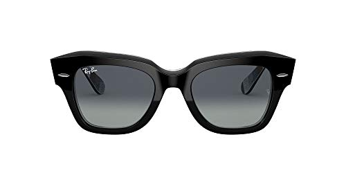 Ray-Ban 0RB2186 Gafas, Black ON Chevron Grey/Burgundy, 49 Unisex