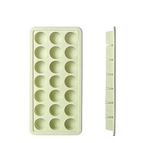 Bandejas de cubitos de hielo - Moldes de cubitos de hielo flexibles 21 Cubos por bandeja de silicona Bandeja de hielo con tapa extraíble Easy-Libere Jelly Hely Cubes de hielo Caja de complemento de al