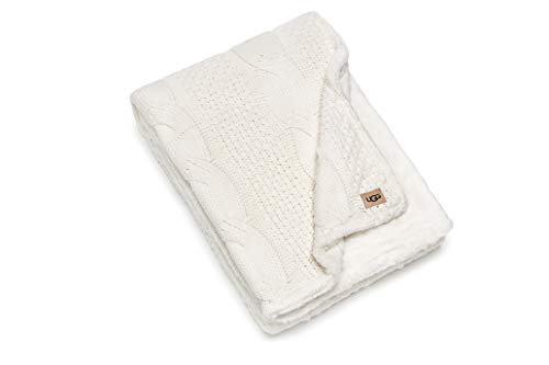 """UGG Erie Blanket – Cable Knit Faux Fur Accent Throw – Fully Reversible Oversized Wrap Cozy Blanket – 50"""" x 70"""" - Snow"""