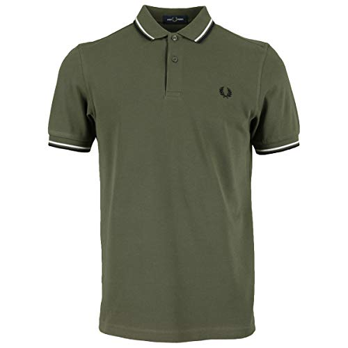 Fred Perry Twin Tripped Shirt Camicetta da Tennis, Military Green/Snow White, M Uomo