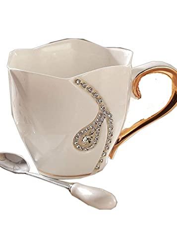 BERTY·PUYI Taza de café, Taza de cerámica con Diamantes de imitación, Juego de Tazas Decorativas, Lujosa Caja Regalar (Color: Negro)-White