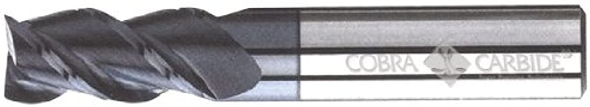 """Cobra Carbide 27304 Micro Grain Solid Carbide Regular Length Hi-Performance End Mill, TiAlN Coated, 3 Flute, 60 Degrees Helix, Square End, 1/2"""" Cutting Length, 1/8"""" Cutting Diameter, 1-1/2"""" Length (Pack of 1)"""