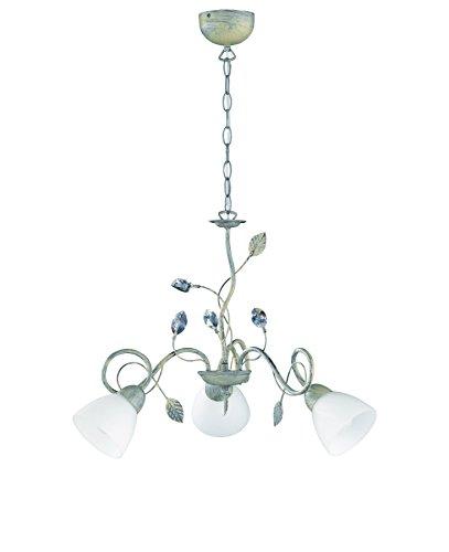 Trio Leuchten Kronleuchter 110700361 Traditio, Metall grau antik, Glas in weiß, exkl. 3 x E14
