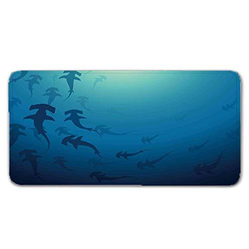 FAIEK Alfombras De Pasillo Agua Azul Largas Moquetas Largo Entrada Felpudos Patrón 3D Anti-desvanecimiento Anti-Sucio Aplicar para Ventana De Bahia Dormitorio Sala Lavable Cortable 140x200cm