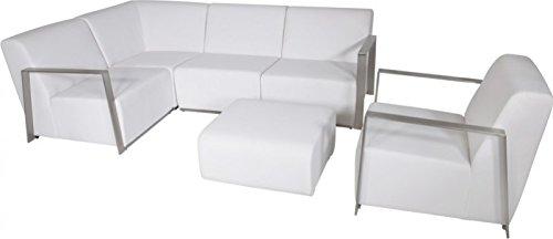 Casa Padrino Art Deco Designer Garten Möbel Set Weiß mit Sunbrella Stoff - schnelltrocknend Garten Möbel Set
