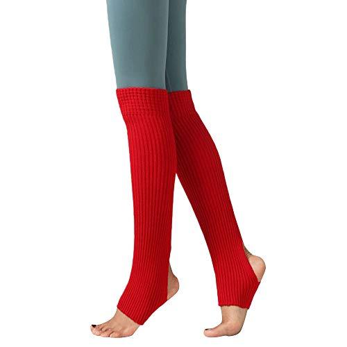 ODJOY-FAN 1 Paar Frau Schenkel Gestrickt Bein Wärmer Yoga Socken Stiefel Abdeckung Leggings Slouch Stiefel Socken Warm Damen Halterlose Strümpfe 55cm(Rot,1 Paar)